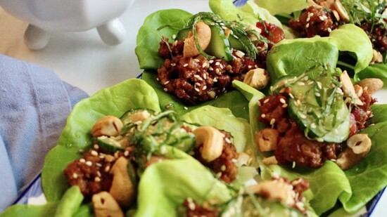 BBQ Chicken Lettuce Cups with Tangy Sesame Cucumbers