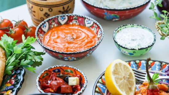 Shredded Harissa Chicken Mediterranean Bowl